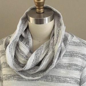"""Faded Glory"" Cowl/Hood Grey & White stripe top"